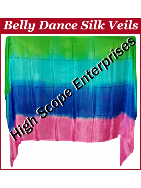 Belly Dance Four Color Gradient Rectangle Silk Veil HSE-RV-6022