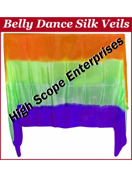 Belly Dance Four Color Gradient Rectangle Silk Veil HSE-RV-6025
