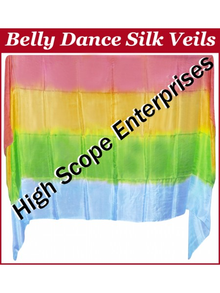 Belly Dance Four Color Gradient Rectangle Silk Veil HSE-RV-6027