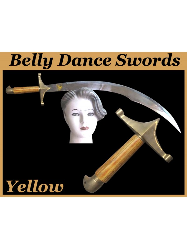 Belly Dance Swords With Yellow Wooden Handle - HSE-BDS-7002