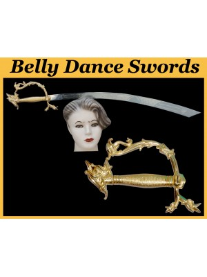 Belly Dance Golden Dragon Swords Silver Plated Blade With Dragon Handle - HSE-BDS-7005