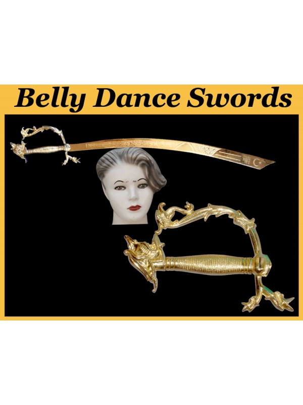 Belly Dance Golden Dragon Swords Gold Plated Blade With Dragon Handle - HSE-BDS-7006