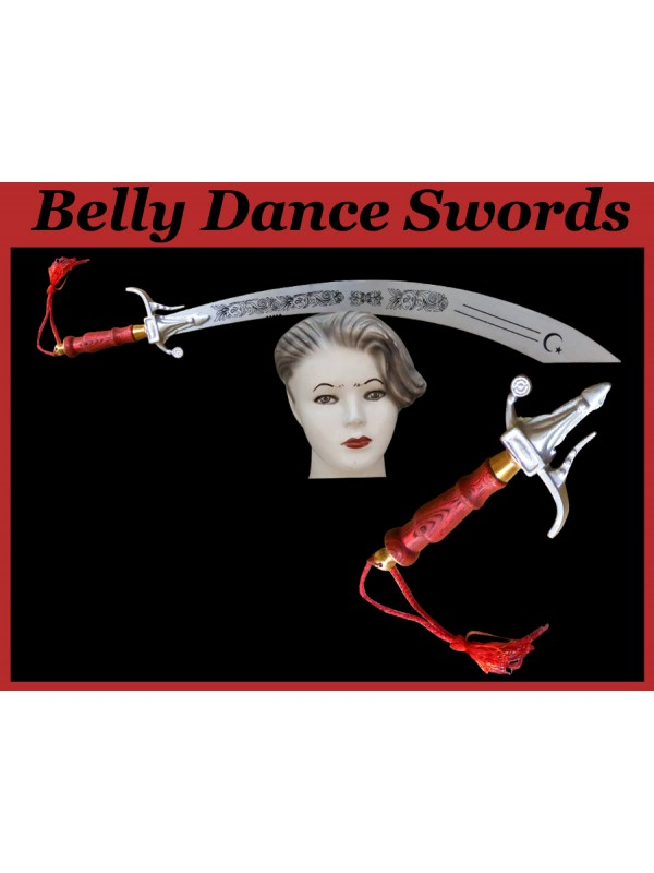 Belly Dance Aluminum Swords With Red Color Wooden Handle - HSE-BDS-7008