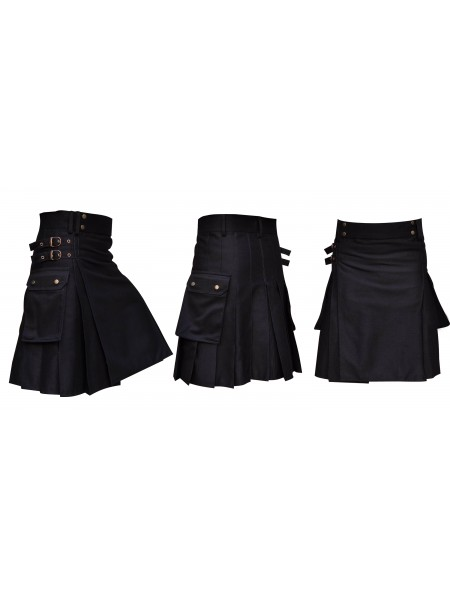 "Black Utility Kilt 30"" to 50"" Made of Cotton"